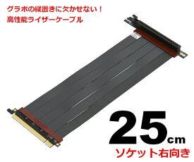 LINKUP ライザーケーブル PCI Express4.0(3.0互換)25cm 90度ソケット 折り曲げ可能