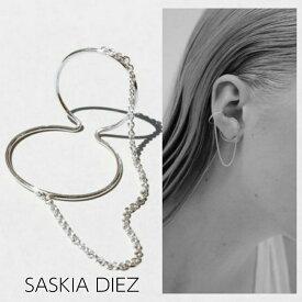 【SASKIA DIEZ サスキア ディツ】細ラインタイプ DOUBLE BOLD CHAINED EAR CUFF イヤーカフ シルバー