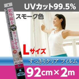 紫外線を99%カットするすっきりスモークフィルムスモーク色透明タイプUVカット99%シールサイズ:92cm×2mUPF50+日差しカット【日本製】