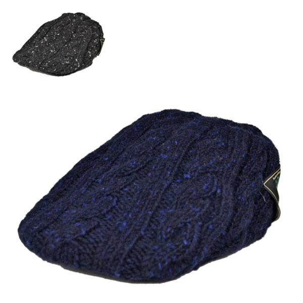 ドネガルツイード・ニットハンチング 【帽子】秋 冬 メンズ あったかい ブラック 黒 ネイビー 紺 おしゃれ【楽ギフ_包装】