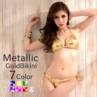 Gold triangle bikini