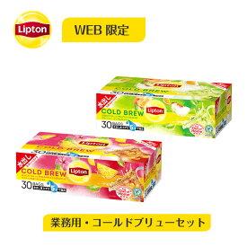 水出し紅茶 リプトン 公式 無糖 コールドブリューバッグ 業務用 30袋×2種類 ティーバッグ