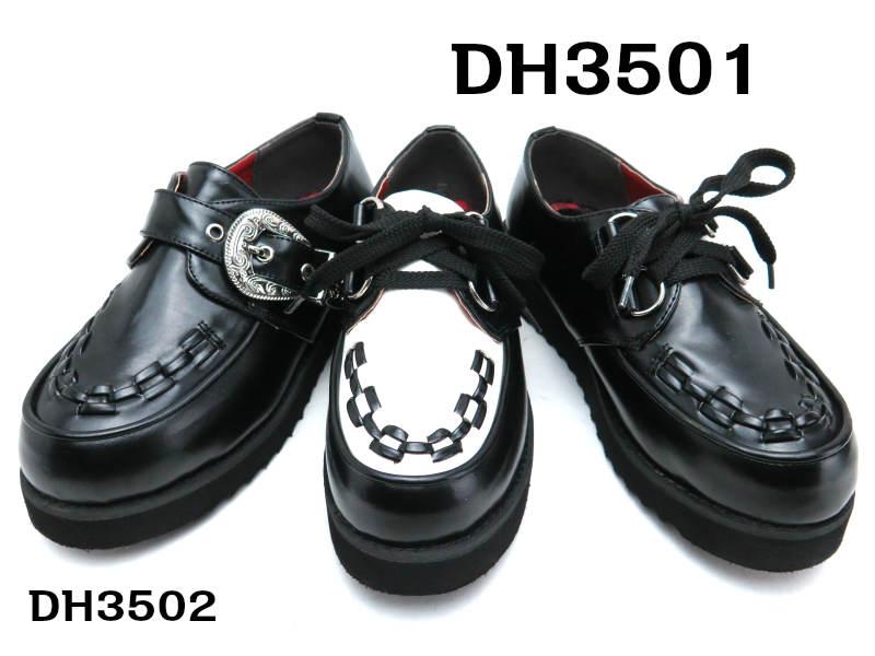 DH 3501 3502キッズ/ジュニア /シューズロックテイスト 厚底 ラバーソール/ジョージコックスデザイン 【黒】20cm 21cm 22cm 23cm 24cm