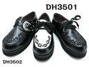 DH 3501 3502 ハロウィンキッズ/ジュニア /シューズロックテイスト 厚底 ラバーソール/ジョージコックスデザイン 【黒】20cm 21cm 22cm 23cm 24cm