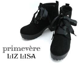 【SALE】primevere LIZLISA プリムヴェール リズリサ PLZ2935レディース ショートブーツ 厚底レースアップ 花刺しゅう飾り 【ブラック】【S】【M】【 L】【 LL】