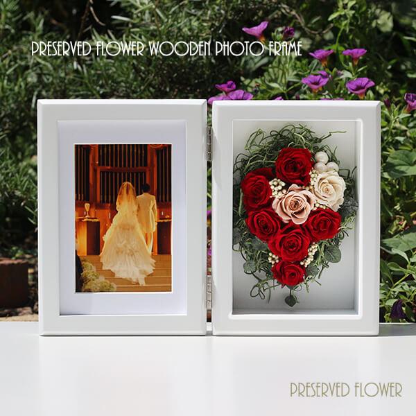 プリザーブドフラワーMサイズ フォトフレーム 木製 ルージュ 赤 写真立て 結婚祝 誕生日 出産祝い 敬老の日 還暦祝い プレゼント ギフト 開店祝い