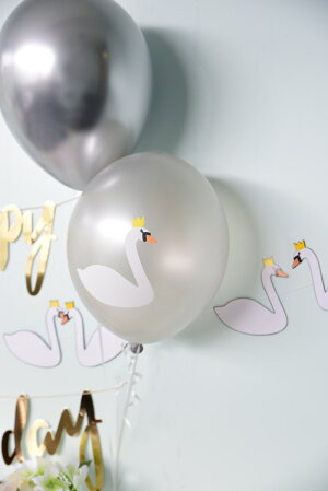 【mylittledayマイリトルデイ】スワン柄ゴム風船5枚入り【swanバースデー飾りバルーンホームパーティーパーティー誕生日お祝いballoon】あす楽!リトルレモネード