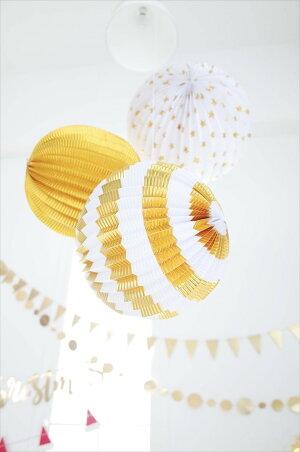 あす楽!【MeriMeri】ゴールド3種アコーディオンボール星柄・ストライプ・ゴールド3個入り【パーティー装飾飾りつけに誕生日お祝いウェディング結婚式デコレーションパーティーセット】【クリスマスX'mas】リトルレモネード