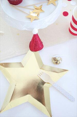 あす楽!【MeriMeri】サンタクロースのミニ帽子グリッターレッド【サンタ帽パーティーハットサンタクロースコーンハット赤ラメパーティーホームパーティー】【クリスマスX'mas】リトルレモネード
