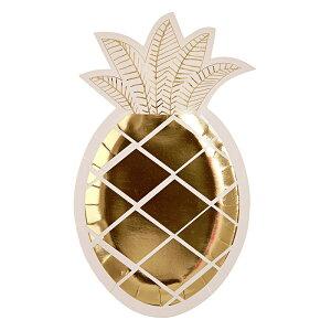 【Meri Meri】ゴールドフォイル ダイカット パイナップル プレート 8枚入り【ゴールド 箔プリント 紙皿 ペーパープレート】【夏 パーティー 誕生日 バースデイ】【オシャレ かわいい】 あす楽