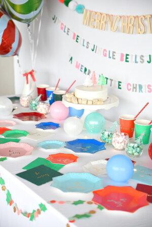 あす楽!【MeriMeri】bejolly箔プリントスモールサイズマルチカラーペーパープレート8枚入り8色【ChristmasクリスマスXmasクリスマスパーティー紙皿テーブルウェアパーティーホームパーティー】リトルレモネード