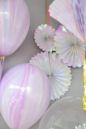 あす楽!【MeriMeriメリメリ】イリディセントペーパーファン6個セット【Iridescent虹色玉虫色オーロラ色パーティーイベントホームパーティー誕生日ファーストバースデーの飾り付け】撮影用小道具リトルレモネード