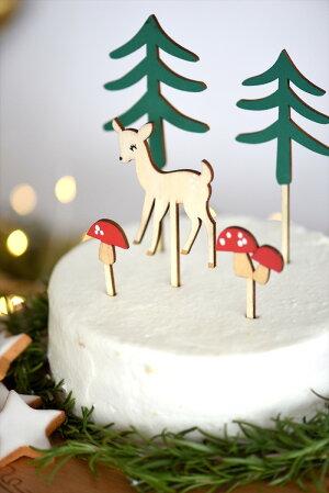 あす楽!【MeriMeri2017メリメリ】ウッドランドケーキトッパーシカとキノコの森のトッパー【クリスマス誕生日ケーキCakeTopperテーブルコーディネート】リトルレモネード