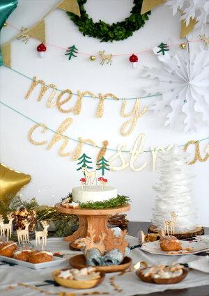 あす楽!【MeriMeri2017メリメリ】ウッドランドガーランド鈴が付いた木製シカとキノコの森のガーランドChristmasパーティーの飾り付けデコレーションXmasクリスマスインテリアリトルレモネード