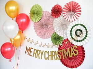あす楽!【mymind'seyeマイマインズアイ】ペーパーファン8個セットホリデーパーティーファンズ【グリーン赤白】クリスマスカラークリスマスX'mas【パーティークリスマスパーティ—装飾飾り付けデコレーション】リトルレモネード
