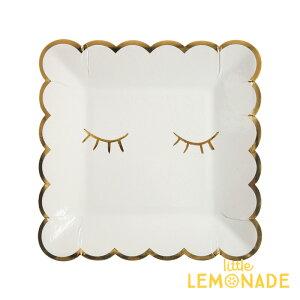 【MeriMeriメリメリ】BLUSHINGまつげ柄ホワイトxゴールドスクエアペーパープレート紙皿8枚入りパーティーホームパーティー誕生日バースデイテーブルウェアスカラップエッジSmallBlinkPlateあす楽リトルレモネード