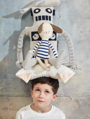 【MeriMeriメリメリ】ロボットのぬいぐるみソフトトイファブリックトイ子供のおもちゃギフト出産祝い誕生日祝いクッション子供部屋インテリアLargeRobotKnittedToyあす楽リトルレモネード