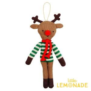【MeriMeri2018】クリスマスオーナメントしましまニットのトナカイ【Reindeer】【ニット素材ブラウン人形マスコットチャームトイ】【ツリー飾りデコレーションクリスマスツリーXmaschristmas】【xmas2018】あす楽リトルレモネード