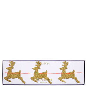 【MeriMeriメリメリ】トナカイゴールドグリッターミニガーランド【GoldReindeerGarland】ホームパーティーインテリアガーランドバナー飾り付けクリスマスパーティーテーブルコーディネートChristmasXmasリトルレモネードあす楽