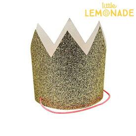 ゴールドグリッターのミニ王冠 GOLD 8個入り【Meri Meri】グリッター ラメ ペーパークラウン パーティー 誕生日 バースデイ 1stバースデイ ハーフバースデイ お祝い クラウン 】 あす楽 リトルレモネード