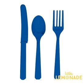 カトラリーセット/ブルー【amscan】【プラスチック製 ナイフ フォーク スプーン 24本入り 使い捨て 誕生日 ホーム パーティー 青 Blue】あす楽 リトルレモネード