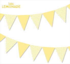 ペーパーペナントバナー/イエロー【CHEVRON ジグザグ柄】【illume partyware】【誕生日 飾り パーティー デコレーション グッズ ガーランド黄 yellow】あす楽 リトルレモネード