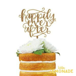 【ウェディング】ケーキトッパー/ Happily Ever After グリッターゴールド【Alexis Mattox Design】【カリグラフィ wedding ケーキ用飾り cak topper ケーキ入刀】 あす楽 リトルレモネード