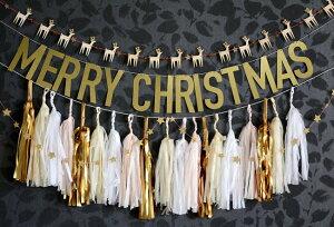 あす楽!【MeriMeri】木製トナカイのミニガーランドグリッターのお星さまとセットになったクリスマスのガーランド【XmasChristmasクリスマスパーティー装飾デコレーション飾り付けパーティー】