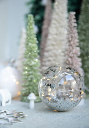 【Rader】シルバーコンフェティ入りガラス製LEDオーナメント小【クリスマス飾りオーナメントデコレーションパーティークリスマスデコレーションドイツ産北欧ツリー】【Christmasxmas】Xmas2018あす楽リトルレモネード