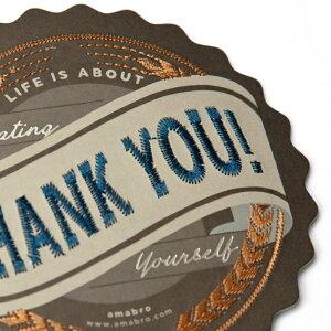 あす楽!【amabroアマブロ】刺繍入りメッセージカード/THANKYOU【EMBROIDERYカードメッセージグリーティングプレゼントお祝いサンキューカード御礼状】