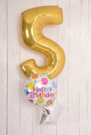あす楽!【送料無料】誕生日ナンバーバルーンブーケ【浮かせてお届け】ヘリウムガス入りメッセージ付色が選べる【1歳誕生日パーティー飾り付けギフトバルーン電報風船】リトルレモネード