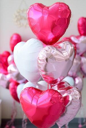 【送料無料】ハート7個バルーンブーケ【浮かせてお届け】ヘリウムガス入りメッセージ付レッド+ピンク+ホワイト【1歳誕生日パーティー飾り付けウェディング結婚式前撮りバルーン電報風船結婚バレンタイン装飾ギフトあす楽リトルレモネード