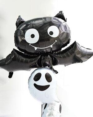 【送料無料】大きなこうもりとファニーゴーストのバルーンブーケ【浮かせてお届け】【ハロウィーンハロウィンパーティーイベントディスプレイ】【バルーン風船balloon】【コウモリゴースト】ネコポスOKあす楽リトルレモネード