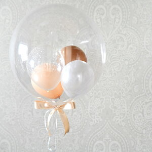【送料無料】色が選べるバブルバルーンスモールサイズリボン付き【浮かせてお届け透明バルーンヘリウムガス入りウェディング結婚式前撮り開店祝い発表会誕生日飾りクリアバルーンバルーン電報リトルレモネード