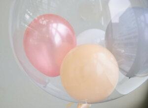 あす楽色が選べるバブルバルーンスモールサイズリボン付き浮かせてお届け透明バルーンヘリウムガス入り風船ウェディング結婚式開店祝い発表会誕生日飾りクリアバルーンバルーン電報送料無料リトルレモネード
