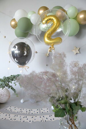数字のバブルラッピングスモールナンバー34cm色と数字が選べる風船ヘリウムガスリボン付きバブルバルーン【浮かせてお届け】1歳誕生日バルーン大人バルーン電報送料無料あす楽リトルレモネード