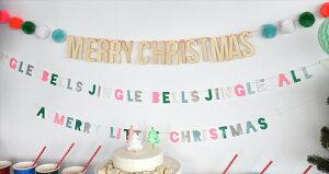 あす楽【MeriMeri】MERRYCHRISTMAS木製プレートと毛糸のポンポンが付いたクリスマスのガーランド【装飾デコレーション飾り付けChristmasXmasクリスマスバナーフェルトボール】メリークリスマスリトルレモネード
