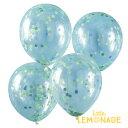 ブルーとグリーンのコンフェッティ入り 透明ゴム風船5枚セット 男の子のお誕生日 パーティーに【Ginger Ray】デコレー…
