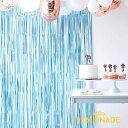 ホイルカーテン/マットブルー 幅1メートル【Ginger Ray】フリンジカーテン 誕生日 飾り デコレーション ディスプレイ …