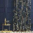 ゴールドスター シャワーカーテン 幅1.2m【Ginger Ray】星 STAR 背景 バックドロップ 壁面飾り クリスマス 飾り 誕生…