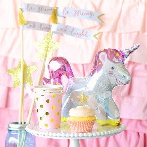 あす楽!ミニユニコーンスティック付バルーン風船星パステルカラーパーティー誕生日飾り付け装飾フォトプロップスunicornballoonstick