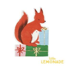 【Meri Meri】ウッドランドスクヮーレル リスのペーパーナプキン 16枚入り 【Woodland Squirrel Napkin】 紙ナプキン ペーパータオル クリスマスパーティー テーブルコーディネート 飾り Christmas Xmas メリメリ あす楽 リトルレモネード