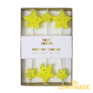 【Meri Meri】2サイズイエロースター12本セット グリッター入り キャンドル バースデーキャンドル ろうそく ケーキキャンドル 子供 誕生日 お祝い バースデイ Candle Star あす楽 リトルレモネー