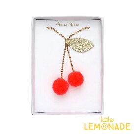 【Meri Meri】チェリーポンポンネックレス Cherry Pompom Necklace ペンダント キッズ用アクセサリー さくらんぼ フルーツモチーフ ギフト おめかし 女の子 プレゼント 子供用アクセ あす楽 リトルレモネード