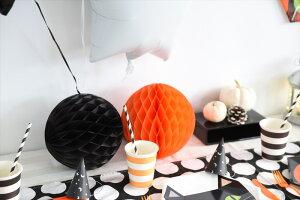 あす楽!ハロウィンハニカムボール4個セットブラックオレンジ20cm&30cm【ネコポス配送可】【ハロウィンHALLOWEEN黒オレンジ】リトルレモネード