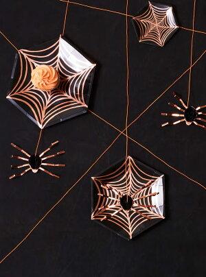 あす楽!【MeriMeriメリメリ2017】クモの巣スモールペーパープレートローズゴールドハロウィンパーティーSpiderwebスパイダー蜘蛛ローズゴールドHalloweenハロウィーンテーブルコーディネートリトルレモネード
