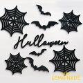 【Halloween】WoodBannerウッドバナー9点セット木製バナーハロウィンバナー飾り蜘蛛の巣コウモリナチュラル飾り付けレターバナーガーランドカリグラフィMICプチプラあす楽リトルレモネードLLS