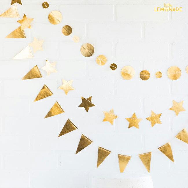 あす楽!【my mind's eye マイマインズアイ】3個セットのミニバナー ゴールド Gold【サークル・スター・フラッグ】【ガーランド バナー パーティー 装飾 バースデイ 誕生日 ベビーシャワー 1st】MINI BANNER SET Golden【クリスマス X'mas】リトルレモネード