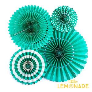 ベーシックペーパーファンセット/ティール【mymind'seye】BASICSPARTYFANSTEALペーパーファンパーティー装飾飾り付け誕生日デコレーションイベントグリーン緑深緑マイマインズアイあす楽リトルレモネード