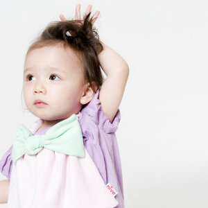 あす楽!【niva】nivaのおでかけスタイ☆BigRibbon(ビッグリボン)/グリーン×ピンクおしゃれスタイよだれかけピブリボンアニマルコットン赤ちゃん出産祝いお祝いベビー